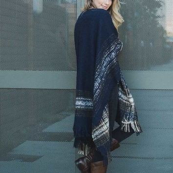 Navy Mohair Fringe Trim Plaid/Poncho