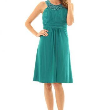 JD292Tealblue pretty dress with stunning jeweled neckline