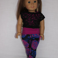 3 piece set!!! tank top, lace off the shoulder tee and  floral stretchy  jeggings 18 inch doll clothes