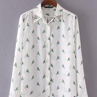 White Parrot Pattern Printed Rivet Long-sleeved Chiffon Shirt