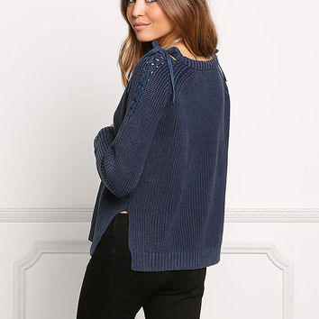 Navy Shoulder Lace Up Thick Sweater Top