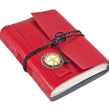 Red Faux Leather Journal with blank paper and Paris cameo