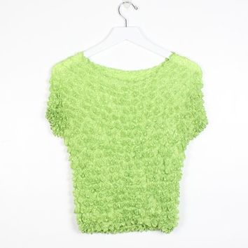 Vintage 1990s Micropleat Tshirt Lime Green Semi Sheer Crinkle Shirred Stretchy 90s Tee Micro Pleated Crinkled Mini Crop T Shirt Y2K XS S M