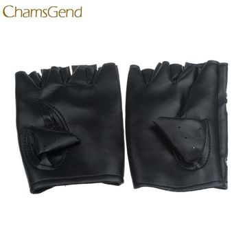 Good Sale Theatrical Glove Punk Hip-hop PU Black mitten Half-finger Leather Gloves Square Nail Dec 7