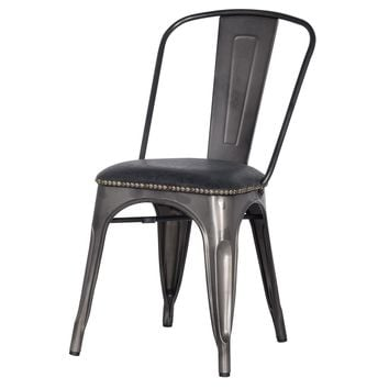 Metropolis PU Leather Metal Side Chair, Vintage Black (Set of 4)