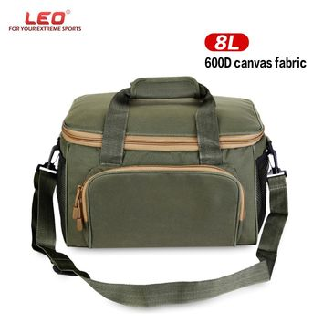 LEO Men Women Fishing Bag Canvas Reel Lure Carrier Storage Bag Fishing Tackle Multifunctional Outdoor Waist Shoulder Bags