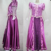 Adult Rapunzel Fancy Dress Anime Cosplay Costume Princess Fairytale Tangled Cosplay Dresses Free Shipping