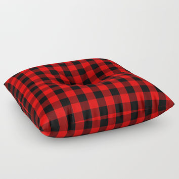 Classic Red and Black Buffalo Check Plaid Tartan Floor Pillow by podartist