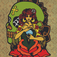 Modern Cross Stitch Kit 'Fortune Teller' By Illustrated Ink