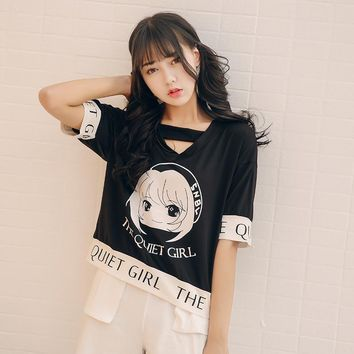 Women's T-shirts Japan Harajuku Ladies Ulzzang Loose Cartoon Printed Wild Student T-shirt Female Korean Kawaii Tops For Women