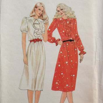 Butterick 3354 Sewing Pattern 70s 80s Style Disco Cocktail Party Dress Loose Fit Ruffle Neck Blouson Sleeves Uncut FF Bust 38 Plus Size