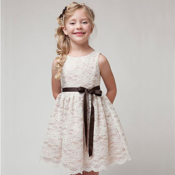 SUMMER NEW children clothes girls beautiful lace dress  white baby girls dress teenager kids dress for age 2-12