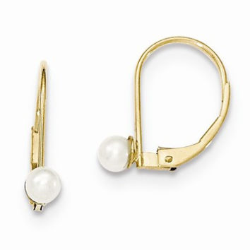 14k Yellow Gold Pearl Leverback Earrings