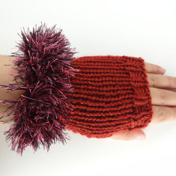 Fingerless Gloves , Maroon,  Fuzzy  Trim