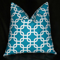 """TURQUOISE Pillow 16 inch ONE Decorator Pillow Cover aqua and white Chain Link Geometric Modern 16"""""""