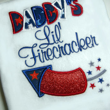 Daddy's LIttle Firecracker Embroidered/Appliqued Shirt or Bodysuit