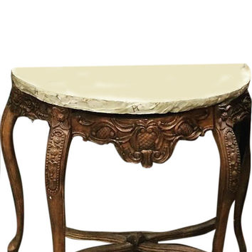 Indian Wood Stone Console Table Handcrafted Cabriole Legs Table Furniture India