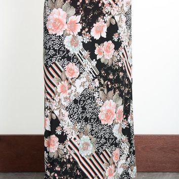 Black Striped Floral Maxi Skirt