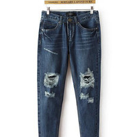Blue Denim Frayed Pants