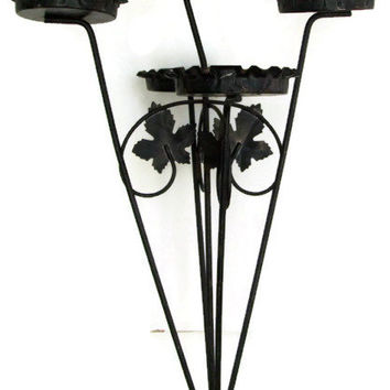 Mid Century Plant Stand, Black Metal and Wire with Ruffled Edges, Cutout Leaves, Shabby Chic, Very 50's Summer Patio Decor