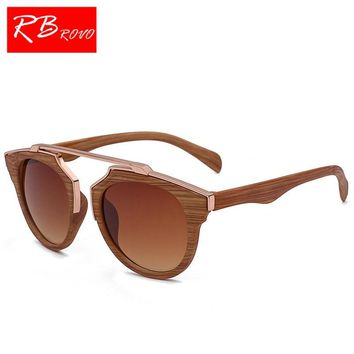 RBROVO 2018 Vintage Wood Grain Sunglasses Men Brand Designer Classic Bamboo Sun Glasses For Women Driver Metal Oculos De Sol