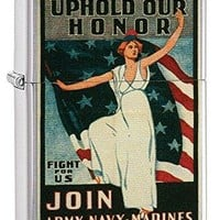 U.S. Marine Corps. Marine Vintage Poster Zippo Outdoor Indoor Windproof Lighter Free Custom Personalized Engraved Message Permanent Lifetime Engraving on Backside (Marine Vintage Poster)
