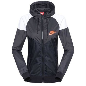 DCCKNQ2 Women NIKE Zip Hooded Sweatshirt Jacket Cardigan Coat Windbreaker