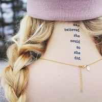 She Believed She Could So She Did Temporary Tattoo