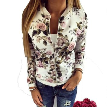 Women Jacket Brand Tops Flower Print Bomber Jacket