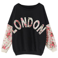 ROMWE | ROMWE London Print Rose Sleeves Black Sweatshirt, The Latest Street Fashion