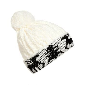 New Style Female Christmas Tree Deer Pattern Knit Hat Women Winter Warm Ball Cap Christmas Tree Deer Crochet Knitting Beanie Hat