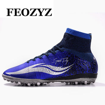 2017 New Adult Men Football Boots High Ankle Superfly Football Shoes Hard Court Turf Soccer Shoes Cleats Voetbalschoenen 39-45