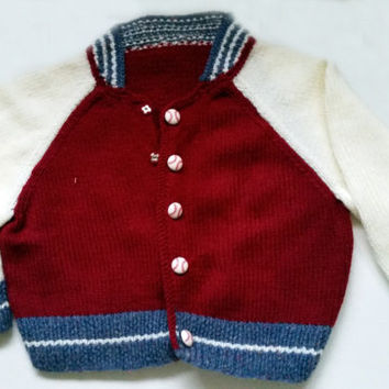 Baby Boy // Baseball Jacket // Hand Knit