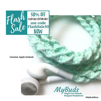 FLASH SALE! iPhone Earbuds - Headphones - Wrapped Headphones - iPhone Earphones - Tangle Free Earbuds Gifts for Women