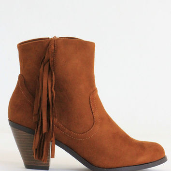 Brown Suede Fringe Boots
