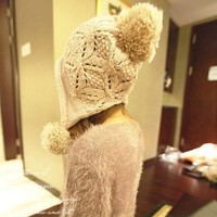 Ninimour- Korea Knit Hat Cap Ear Flap Earmuff Warm Winter Hats Cap (Beige)