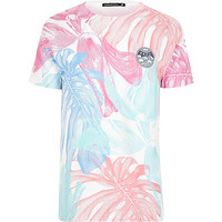 River Island MensWhite Friend or Faux tropical print t-shirt
