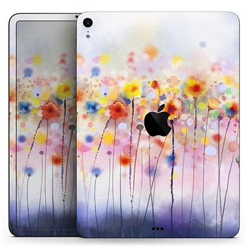 "Drizzle Watercolor Flowers V1 - Full Body Skin Decal for the Apple iPad Pro 12.9"", 11"", 10.5"", 9.7"", Air or Mini (All Models Available)"