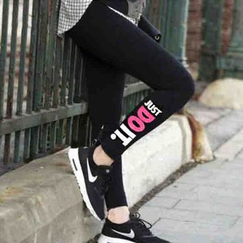 """NIKE""Fashion Women Personality Print Stretch Jogging Yoga Gym Sports Fitness Sweatpants Trousers Pants"