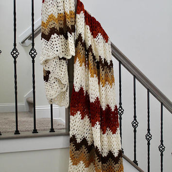 Lacey Autumn Throw - Handmade Crochet Ripple Afghan - Queen Size Blanket - Fall Blanket