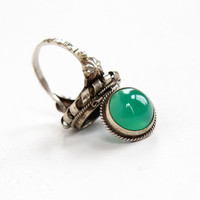 Vintage 800 Silver Chrysoprase Poison Ring - Retro Size 6 Statement Green Gem Locket Secret Compartment Jewelry