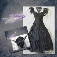 GOTHIC FAIRY costume with headdress, size S/ eur 36 /us 4, OOAK, free International shipping!