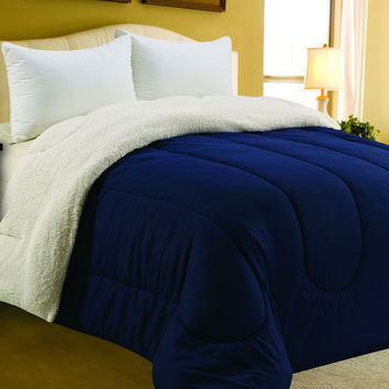"""Four Seasons Bedding Collection Queen Size Sherpa Reversible Comforter (86"""" x 86"""") - Navy"""