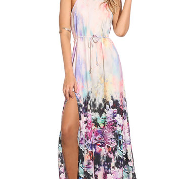 Party dresses > MIX WITH LOVE DRESS - rainbow floral printed maxi dress
