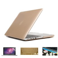 Applefuns(TM) 4IN1 Kit Hard Shell Case + Keyboard Cover + Screen Protector + Dust Plug for Macbook Pro 13 inch with Retina Display A1425 A1502 (Metallic Gold)