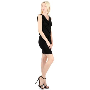 Evanese Women's Sexy Cowl Neck Day Work Weekend Cocktail Dress with Waist String