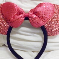 Minnie Mouse Ears Headband Light Pink Ears White Big Bow Mickey Mouse Ears, Disneyland, Disney World fast shipping