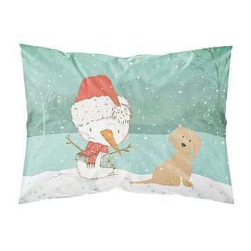 Brown Maltese Snowman Christmas Fabric Standard Pillowcase CK2093PILLOWCASE