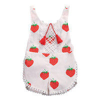 Sweet Strawberry Floral Sleeveless Romper Summer Outfit for Girls