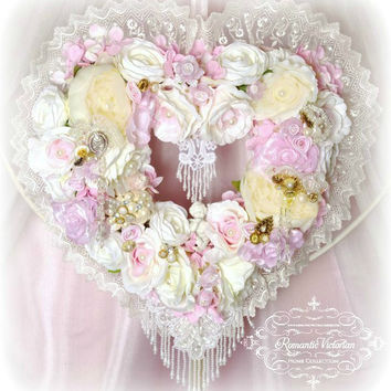 Pink Cherub Heart Wreath